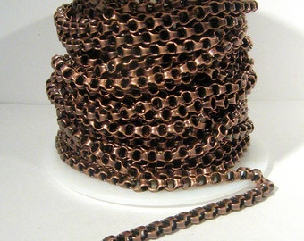 Box Link Rolo Chain - Antique Copper - 4mm x 2mm Links - CH105