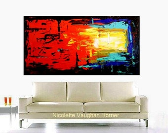 "Original HUGE 60""by 36"" Abstract Painting Multi Shades high quality Canvas Contemporary Fine Art Nicolette Vaughan Horner"