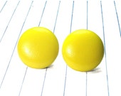 ON SALE yellow earrings - yellow studs - yellow jewelry - fabric earrings - fabric studs - fabric jewelry - button earrings - button studs -