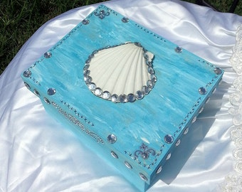 Cool Waters seashell Wooden Memory Box