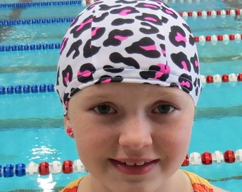 Lycra SWiM CaP - PINK LEOPARD - Sizes - Baby , Child , Adult , XL - Made from Spandex / Swimsuit Swimming Fabric -by Froggie's Swim Caps