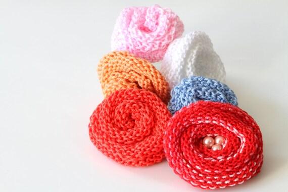 Spring Flower Rosette Tutorial, PDF Rosette Knit Flowers Pattern, DIY Knitted...