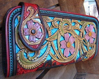 Forget-Me-Not wallet heavily hand-tooled leather w/filigreed ice aqua & turquoise bass, chocolate roo lined