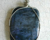 Blue Dumortierite  Pendant Necklace & Earrings