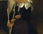 Prayer at Sainte-Anne-d'Auray (after Bouguereau)--Hand painted oil on Canvas-Free Shipping USA