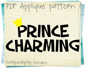 Prince Charming Applique Template - Boys Prince Applique Pattern / Boys Applique Quilt / Prince Charming Outfit / Toddler T-Shirt AP266-D