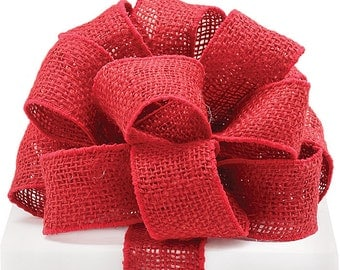 """4yds,27"""" of RED BURLAP 2""""wide Wired Wire Edge Ribbon (Free Shipping!)"""