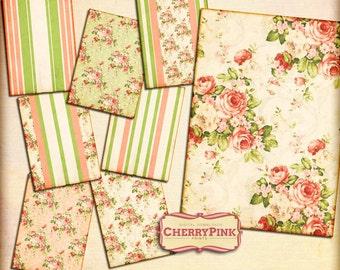 Floral digital collage sheet, floral scrapbook paper  5x7 dgital paper,  digital download for scrapbooking