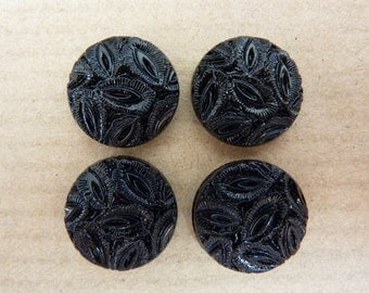 4 glass cabochons, Ø14mm, leafs, opaque black