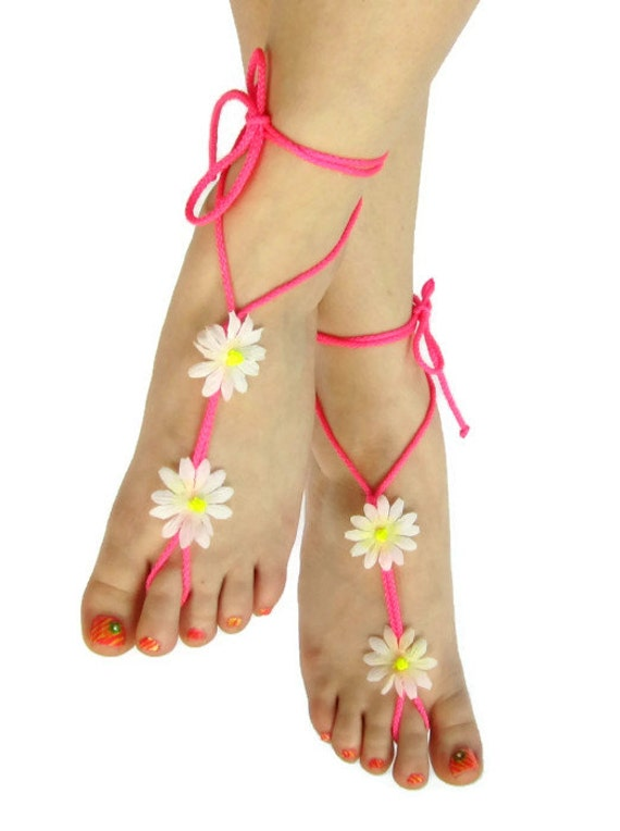 Pink barefoot sandals neon hot pink white daisy