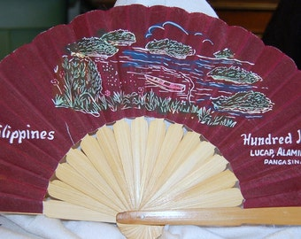Vintage Hand Painted Bamboo and Cloth Hand Fan - Philippines - Hundred Islands Alaminos City