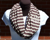 Monogrammed Infinity Scarf Chocolate Brown and Tan Stripe Knit Jersey
