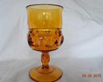 4- Colony Glass Amber King Crown Water Glasses
