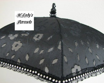 LAST ONE VICTORIAN Parasol Umbrella in Black Burnout Fabric Embellished with Rhinestone Band on a Ruffle Steampunk Gothic Mourning Wedding