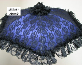 VICTORIAN PARASOL Umbrella in Your Choice Color Satin with Black Lace Overlay and Black Lace Ruffle Steampunk Bridal Shower Wedding Prom