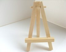 Miniature Easel - White, black, red, blue, copper, gold, silver, bronze, unfinished wood easel, miniature painting, ACEO painting supply
