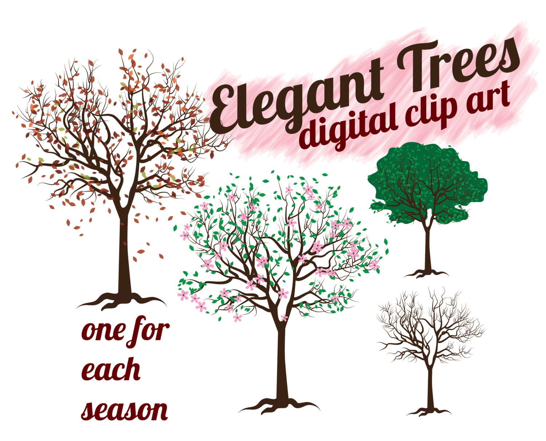 Trees Clip Art INSTANT DOWNLOAD Elegant Winter Autumn