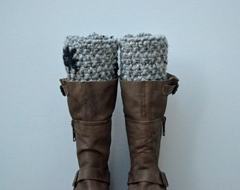KNIT boot cuffs - boot toppers - leg / ankle warmers - knitted flower boot cuffs - accessories