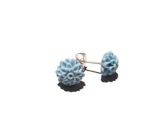 Baby Blue 10mm resin Dahlia Stud earrings stainless steel