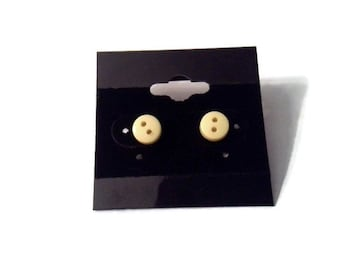 6mm Yellow button stud earrings