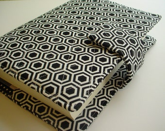 Bible Cover Quilted in a Black and White Geometric print with optional handles Custom fit to your Bible