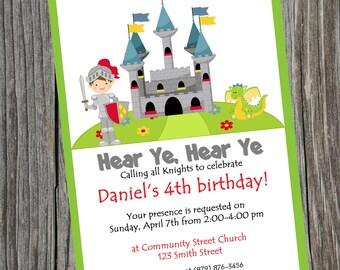 Knight Party Birthday Invitation.  Printable Knight theme invite.  Boys Knight Party