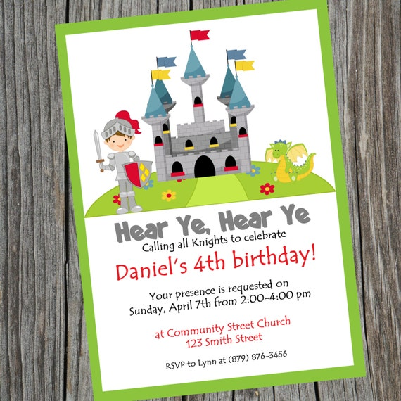 Knight Party Birthday Invitation Printable Knight theme – Knight Birthday Invitations