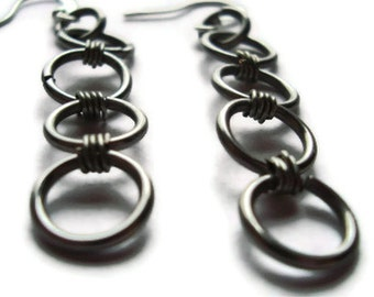 stainless steel circle chianmaile earrings