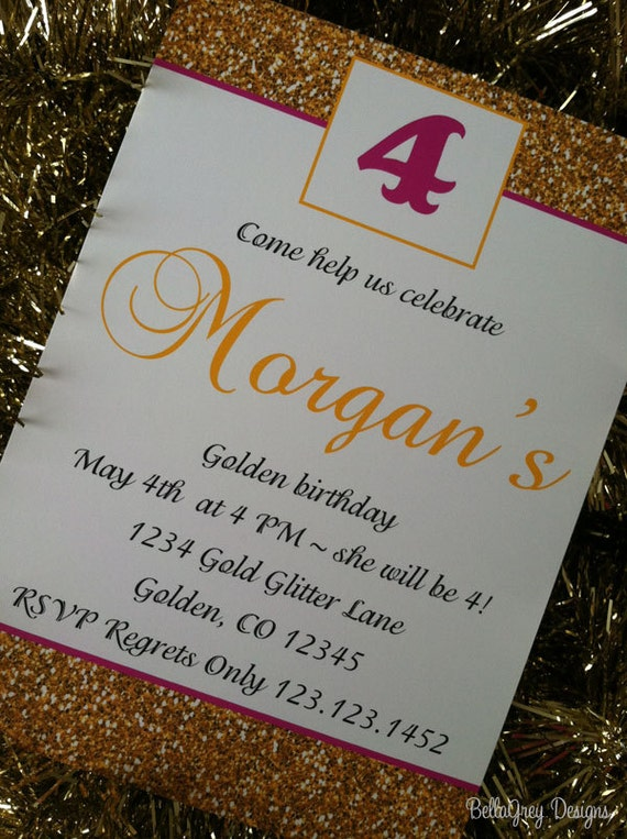 Items similar to Golden Birthday Party Invitations Printable on Etsy – Golden Birthday Invitation