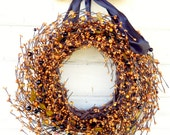 THANKSGIVING WREATH-Scented Pumpkin Spice-Fall Door Wreath-Autumn Door Decor-Halloween Decor-Holiday Home Decor-Custom Choose Ribbon & Scent