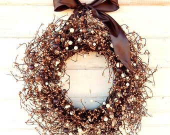 Fall Wreath-Fall Door Decor-Rustic Berry Wreath-Chocolate Brown & Cream Berry Wreath-Rustic Woodland Home Decor-Holiday Gifts-Gift for Mom