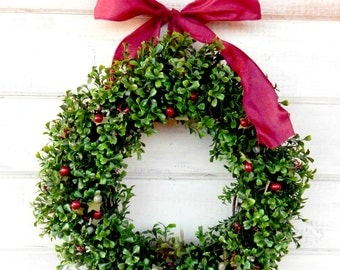 Boxwood Wreath-Summer Wreath-Fall Wreath-CRANBERRY & SAGE BOXWOOD Wreath-Home Decor-Boxwood Wreath-Year Round Wreath-Outdoor Wreath-Gifts