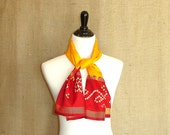 Yellow Scarf: Indian Sari Women's Scarf, Red Bandhani Scarf,  Upcycled Saree Scarf, Fashion Scarf, From India