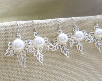 SET of 6 pairs Silver leaf pearl bridesmaids earring, wedding jewelry (EP002)