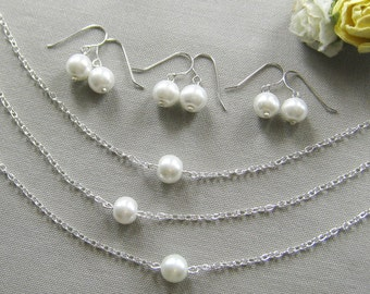 SET of 6 single pearl bridesmaid necklace and earring set, bridesmaid gift wedding pearl jewelry white ivory - custom color W001S