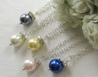 SET of 6 pcs Rhinestone pearl necklace, bridesmaids necklace, wedding jewelry - W003 (Choose your pearl colour)