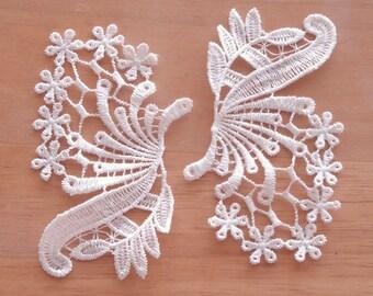Venice Lace Embroidery Appliqués In Off White Color.