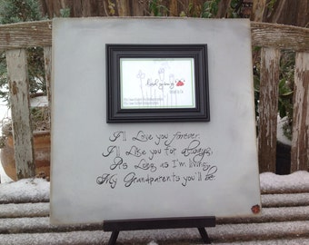 "I'll love you forever, I'll like you for always... Picture frame 18""x18"". Customize your own frame: parents, grandparents  by Ladybug"