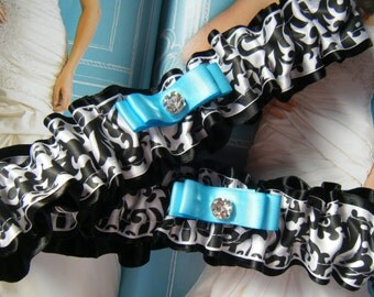 Black and White Damask Print on Black Satin Garter Set
