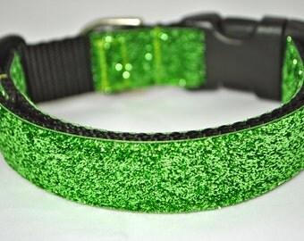 "Green Metallic Glitter 1"" Width Adjustable Collar"