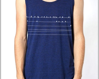 Birds on a wire Tank Top Men's Women's Unisex American Apparel Animal Nature lover tank shirt clothing