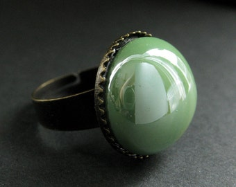 Spring Green Glass Ring in Bronze. Green Ring. Bronze Adjustable Ring. Handmade Jewelry.