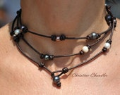 Pearl and Leather Wrap - 23 inch necklace - Lariat - Choker - Bracelet - Anklet - and More - Pearl and Leather Jewelry Collection