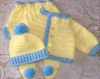 Crochet Baby Boy Yellow and Blue Sweater Set Layette With Leggings Perfect For Baby Shower Gift Take Home Outfit
