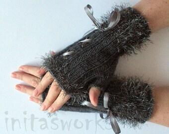 Fingerless Gloves Dark Gray Corset Arm Warmers Mittens 8 inch Knit, Wool Acrylic