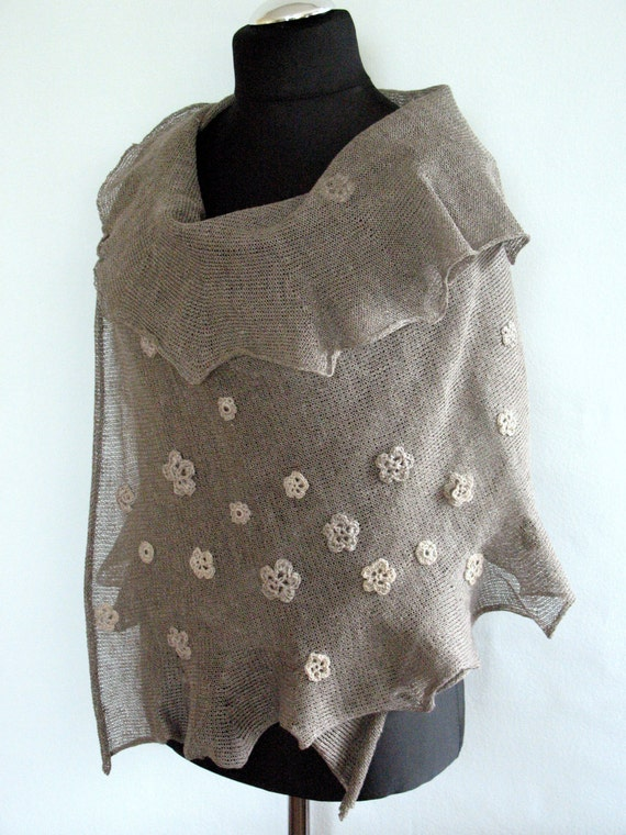 Linen Scarf Natural Gray Shawl Wrap Stole with Crocheted Flower