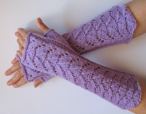 Long Fingerless Gloves Purple Violet Arm Warmers  Mittens Soft Acrylic