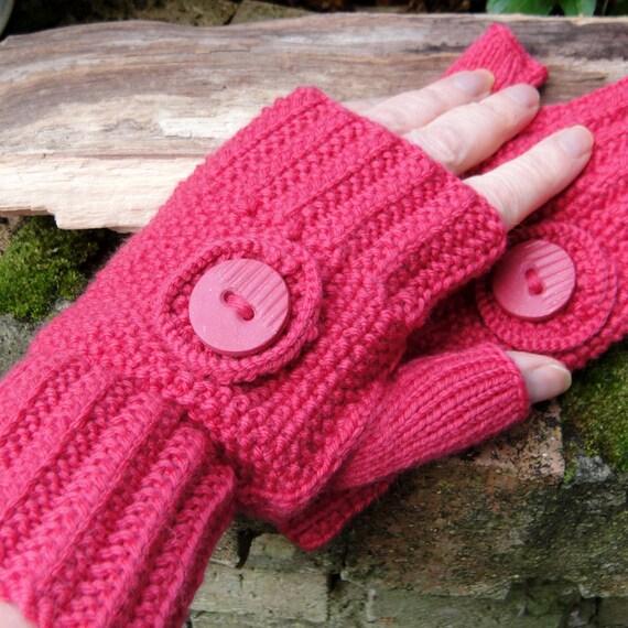 Fingerless Mittens Gloves Hot Pink Wool Cashmere