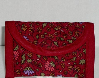 Business Card Case -  Purple and Dark Pink Floral Print on Burgundy