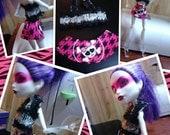 Monster High Inspired Doll Clothes -  Handmade Zebra Top & Skull Skirt